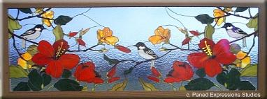 Chickadees and Hibiscus