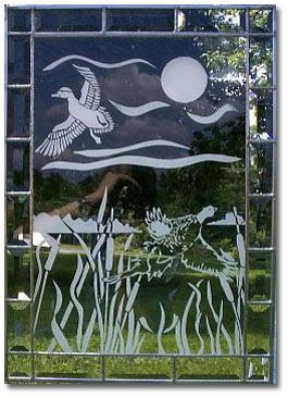 Etched Glass with Bevel border