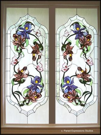 Custom Architectural Floral Stained Glass Etched Glass Windows