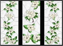 Stained Gl Cabinet Door Pattern Magnolia Blossoms