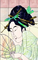 Stained Glass Pattern Courtesan After Bath