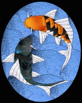 Stained Glass Pattern Dancing Koi