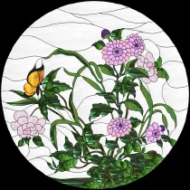 Stained Glass Pattern Garden & Butterfly