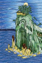 Stained Glass Pattern Island Seascape