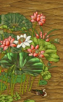 Stained Glass Pattern Lotus & Duck