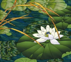 Stained Glass Pattern Lotus Blossom Pond