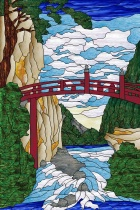 Stained Glass Pattern Mountain Bridge