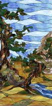 Stained Glass Pattern Mountain Landscape