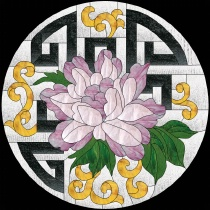 Stained Glass Pattern Peony Fretwork