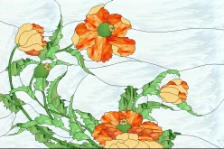 Stained Glass Pattern Poppies