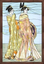 Stained Glass Pattern Two Oriental Beauties