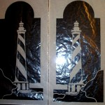 2 Small Etched Lighthouse Panels Design © Paned Expressions Studios 2003