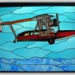 Wonderfully Detailed Stained Glass Airplane Panel