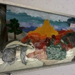 "Grand Canyon Summer 23.5"" Wide x 8"" High - stained glass awaiting foil"
