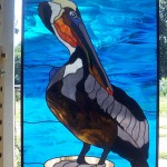 Stained Glass Pelican on Piling