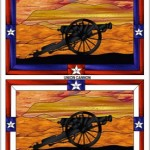 Stained Glass Pattern Civil War Cannon