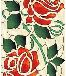 "Rose Cabinet Door Stained Glass Pattern from Pattern CD #25 ""Don't Slam That Cabinet Door!!"""