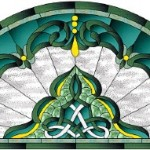 "Free Stained Glass Pattern 3/14-""Celtic Empress"" Arch-Half Round"
