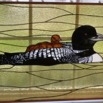 Loon Etch- Stained Glass Fin -Design © Paned Expressions Studios 2003 Fabrication - Talmadge Flanagan
