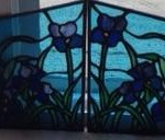 Iris Stained Glass Valance design © Paned Expressions 2012 Fabricated by Maria Kauffman
