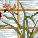 Cardinal & Daylilies Stained Glass Window - © Paned Expressions 2005
