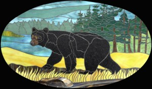 Stained Glass Bear Panel & Design  © 2015  Paned Expressions Studios
