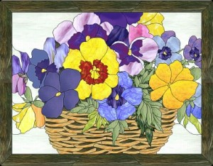 Free Stained Glass Pattern 5-615-basket of pansies