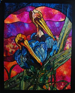 "As Seen in ""Machine Quilting Unltd"" - Stained Glass Pelican Design - © 2005 Paned Expressions Studios -Art Quilt Fabricated by Phyllis Cullen"