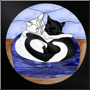 Free Monthly Stained Glass Pattern- 9-10-15 Cat hearts - © 2012 Paned Expressions Studios