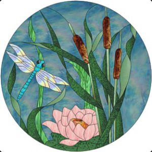 Swamp Pond Dragonfly Stained Glass Design © 2008 Paned Expressions Studios