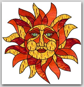Sun Suncatcher Stained Glass Design © 2016 Paned Expressions Studios