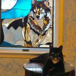 Wolf Moon Stained Glass Panel © 2003 Paned Expressions Studios - Private Collection WV