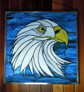 "Stained Glass Panel Design © 2016 Paned Expressions Studios - Fabricated by Windows of the West CA - ""Right Facing Eagle"""