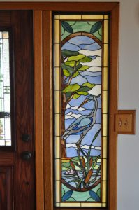 "Stained Glass Panel Design  © 2006  Paned Expressions Studios - Fabricated by Steve Fowler, Focal Pt Glassworks - ""Blue Heron Sidelite"""