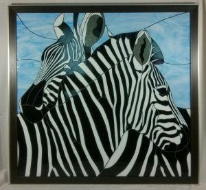 Zebra Mosaic - John Michael - Stained Glass Pattern  © 2006  Paned Expressions Studios