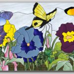 Stained Glass Pattern Summer Pansies Butterflies -717© 2008 Paned Expressions