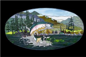 Trout Leaping Stained Glass Panel © 2016 Paned Expressions