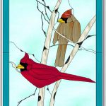 "January 2018 Free Monthly Stained Glass Pattern is Posted –  ""Cardinals in Winter"" or ""Lord & Lady Cardinal"""