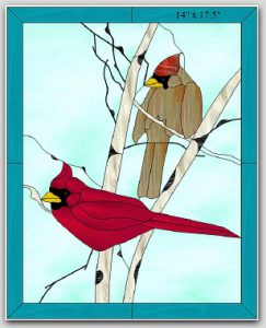 Winter Cardinals Stained Glass Design © 2008 Paned Expressions Studios