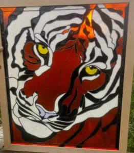 Tiger Face Stained Glass Fabricated by Tim Biza, Design © 2019 Paned Expressions Studios